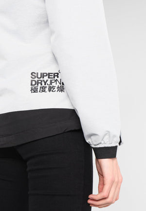 Grey Hooded SD Windtrekker jacket by Superdry logo close up
