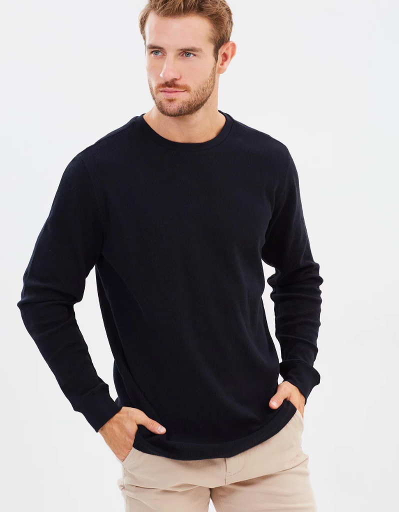Academy brand - Workers Long Sleeve Crew in Black