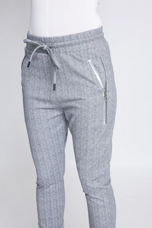 zhrill fabia jogger pant in grey herringbone silver zip detail side