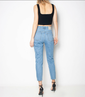 Ziggy -ORGANIC MEET MY MUM JEAN - BRIGHT WATERS TRASH Straight denim back