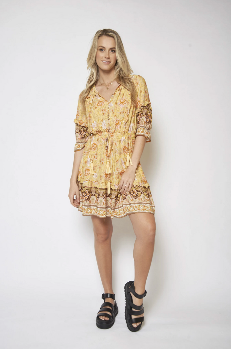 Aria - Sun Chaser Mini Dress in Honey Floral
