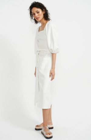 staple the label ava shirred blouse puff sleeve white with skirt