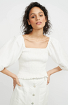staple the label ava shirred blouse puff sleeve white