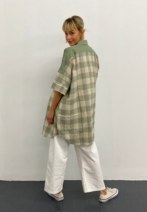 barry made percy sage check shirt dress back