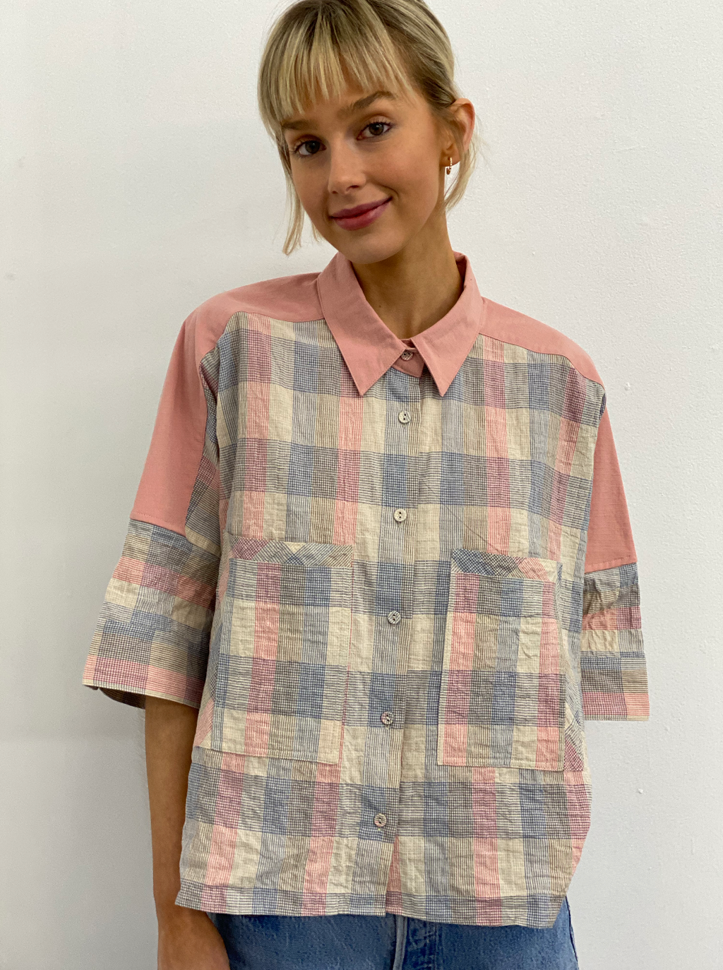 barry made cotter pink check short sleeve shirt