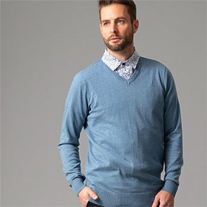WILD SOUTH COTTON CASHMERE CREW MENS BLUE