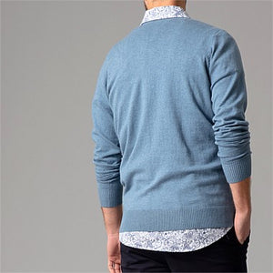 WILD SOUTH COTTON CASHMERE CREW MENS BLUE back