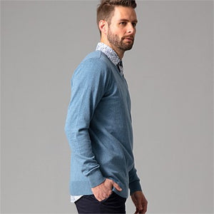 WILD SOUTH COTTON CASHMERE CREW MENS BLUE side