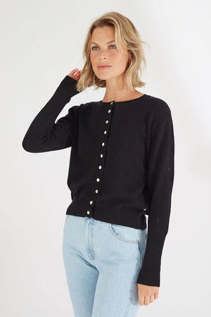 Mia Fratino - PURE ESSENTIALS BUTTON CARDI in Jet Black