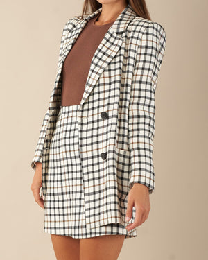 amelius double breasted check blazer black and brown on cream