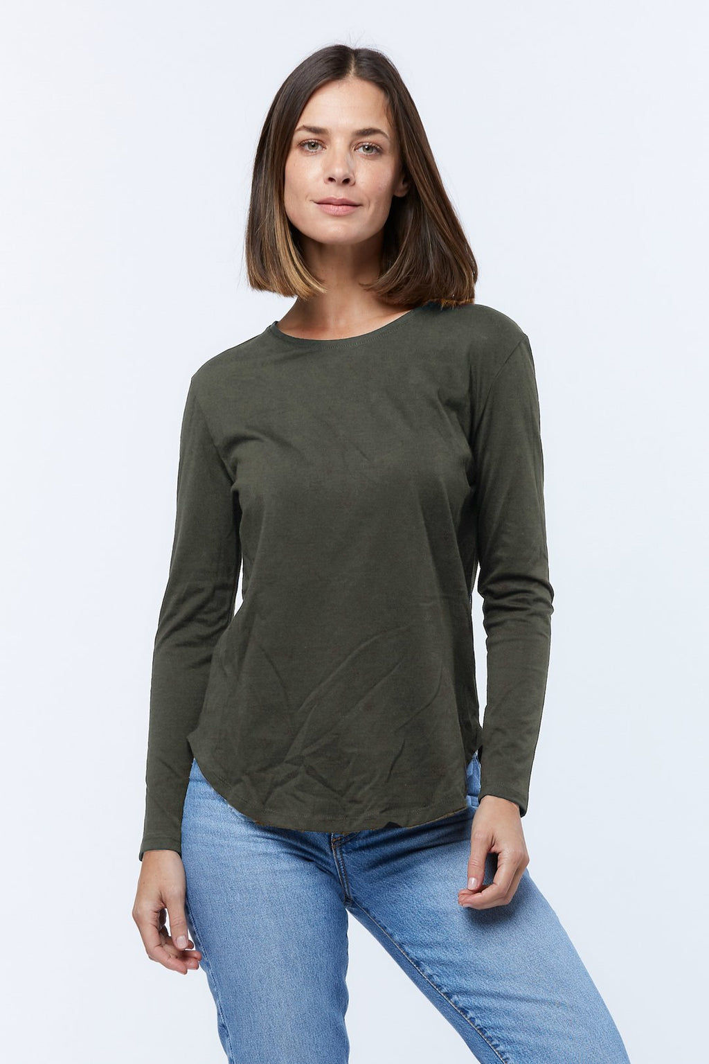 casa amuk pima cotton long sleeve tee olive green front