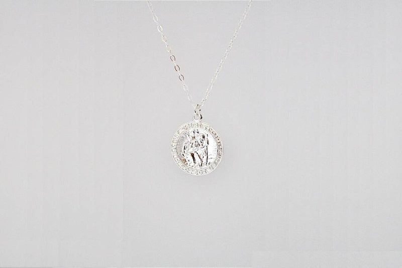 christopher medallion necklace sterling silver coin