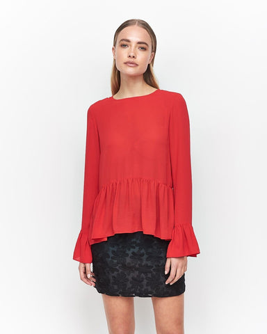 IMONNI - Alla Bruised Georgette Top - Red