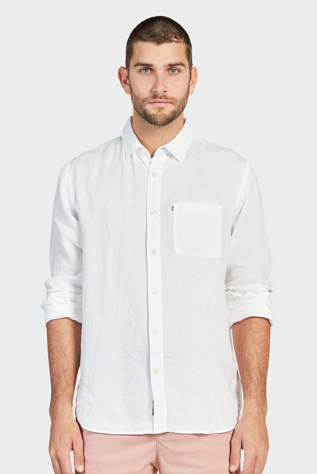 Academy Brand long sleeve white linen shirt hunterminx