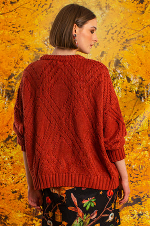 i like knit like that knit burnt orange cable back