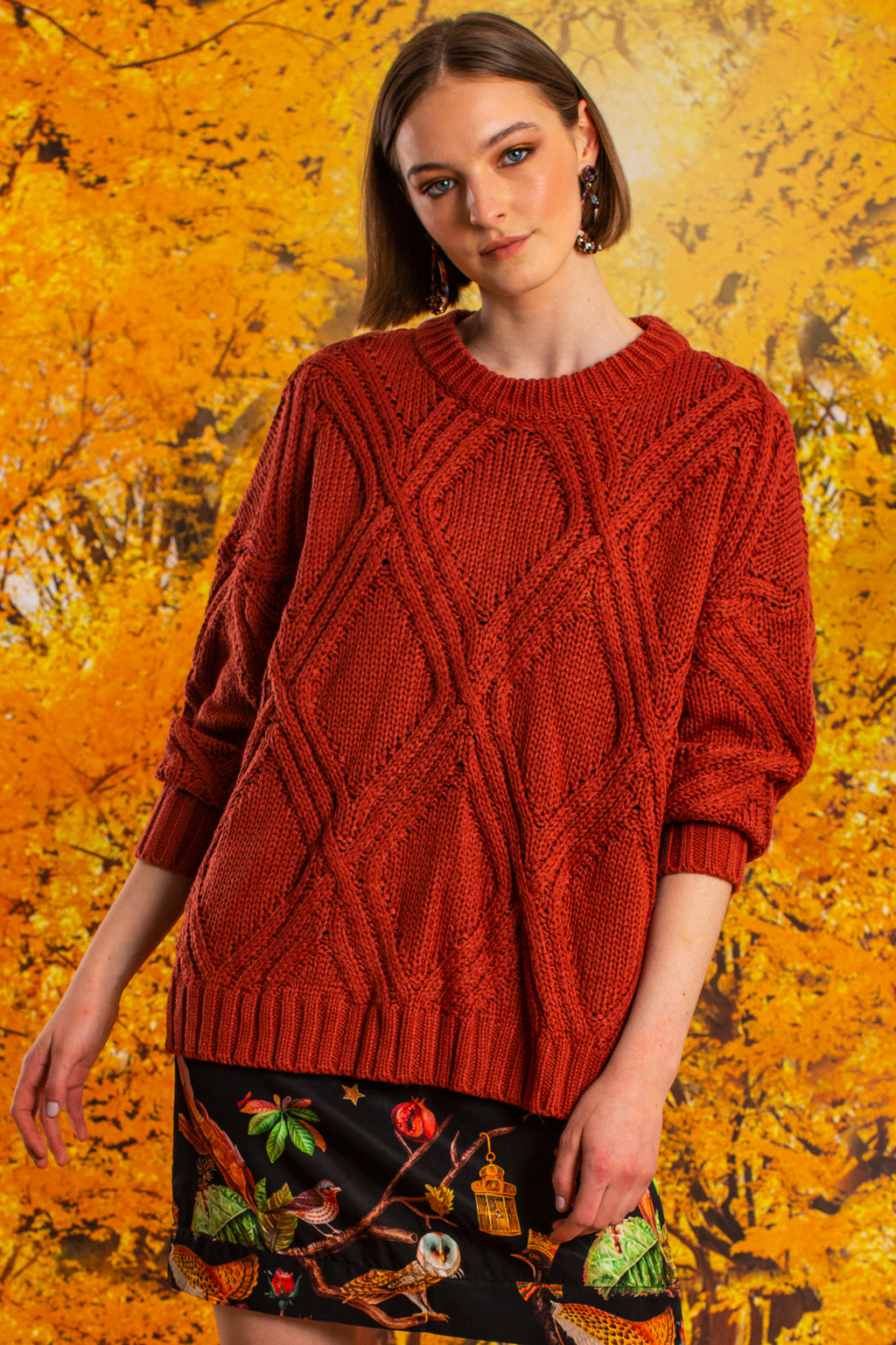 i like knit like that knit burnt orange cable