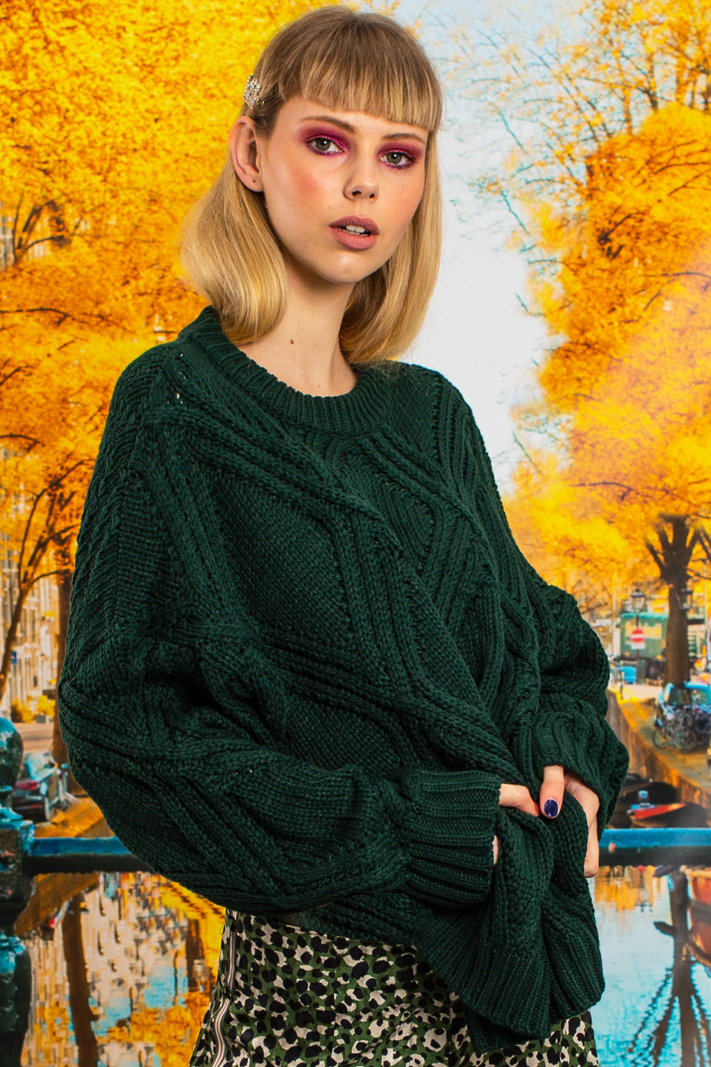 i like knit like that knit forest green cable detail chunky