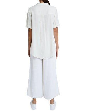 staple the label ines short sleeve womens shirt in neutral linen back pleat detail