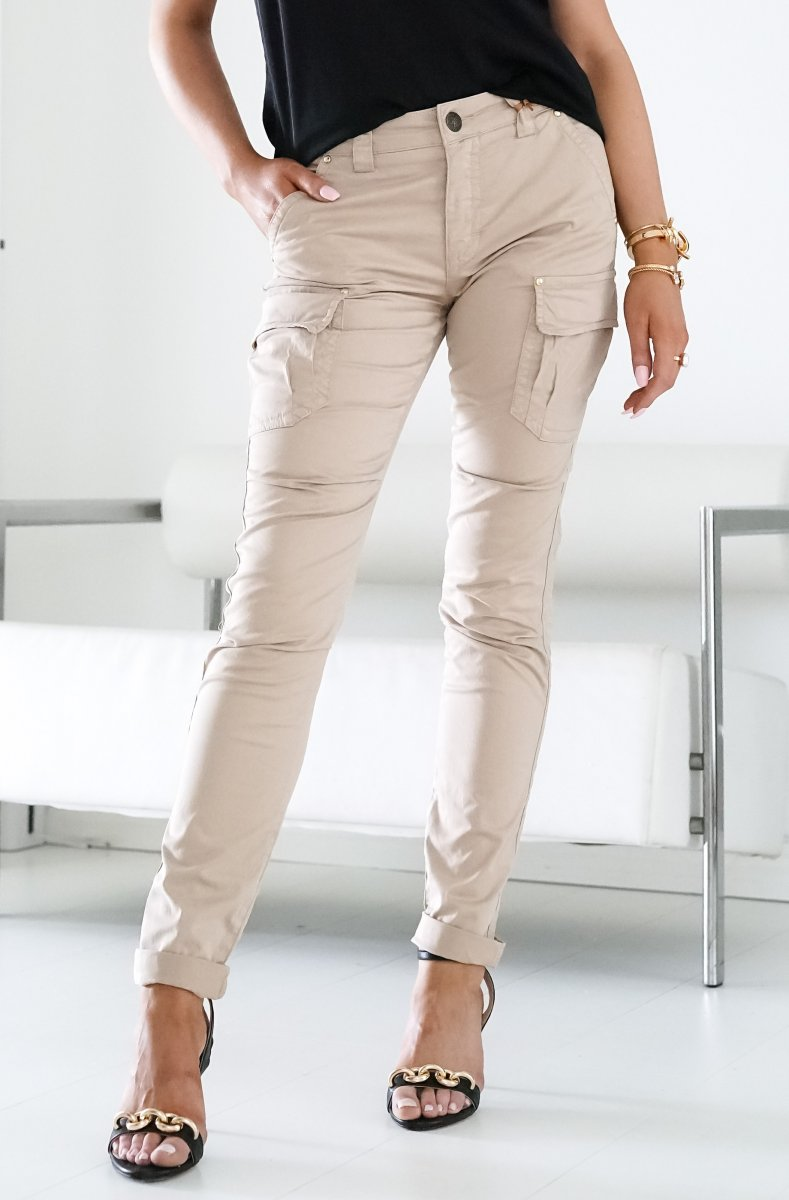 mos mosh cheryl cargo reunion pants in light taupe