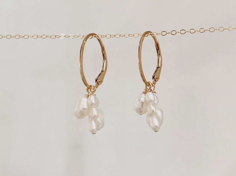 pearl cluster earrings on yellow gold hoops finerrings three strands