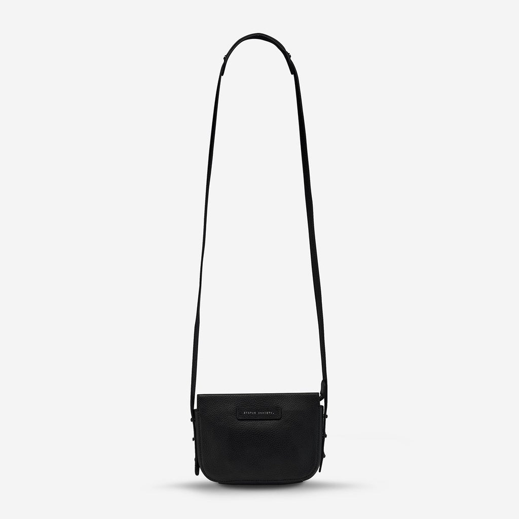 status anxiety black leather crossbody bag in her command front hanging hunterminx