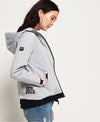 Grey Hooded SD Windtrekker jacket by Superdry side view hood and pockets
