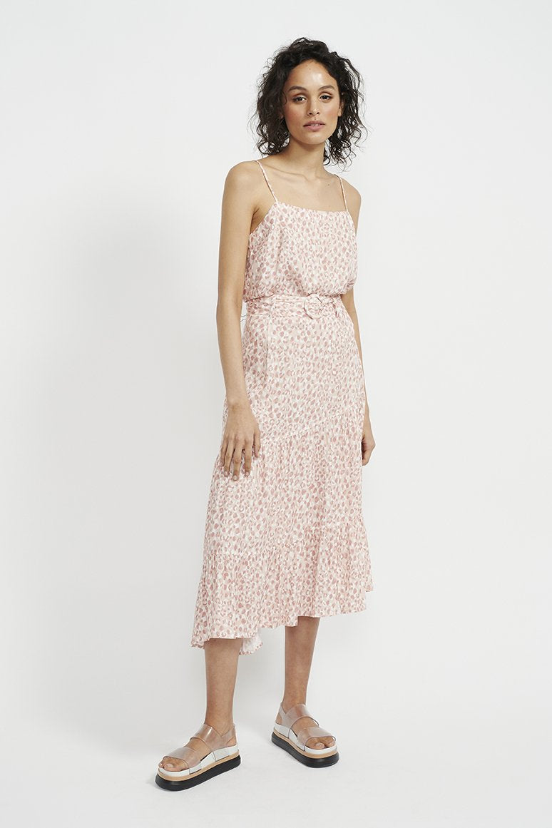 staple the label zahara midi belted skirt in pink animal print