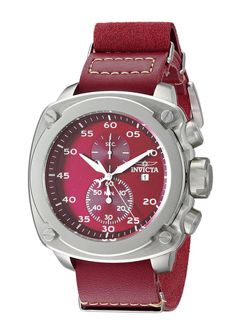Invicta Men's 19432 Aviator Stainless Steel Watch with Burgundy Leather Band