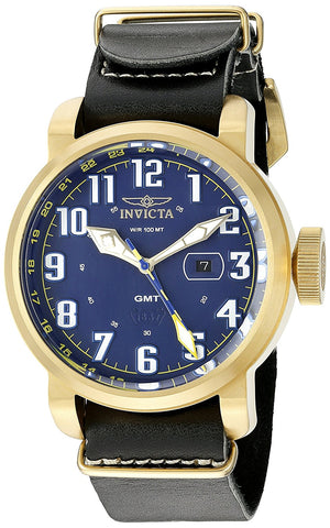 Invicta Men's 18889 Aviator Swiss Quartz Stainless Steel Watch With Black Leather Band