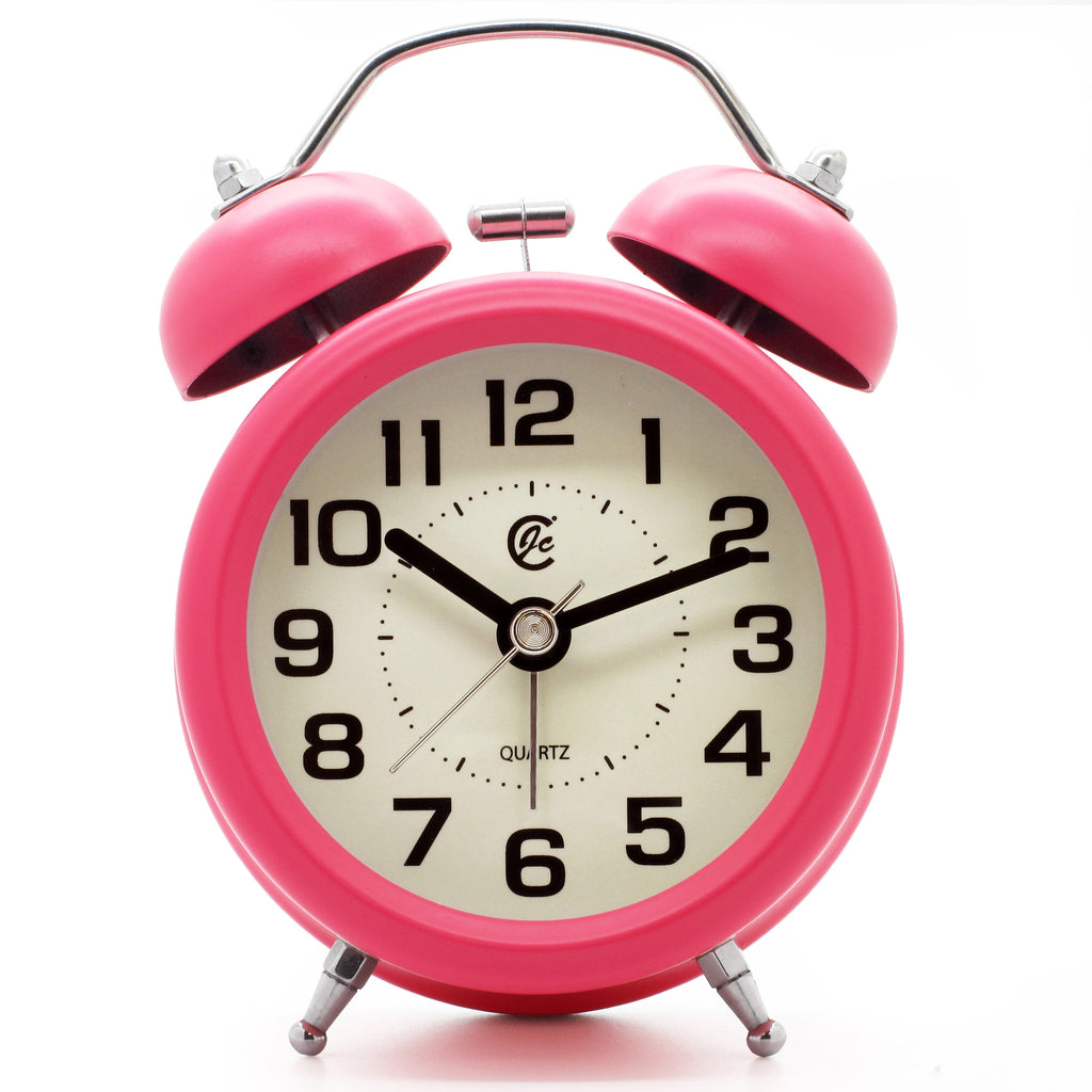 Hot Pink Large Numbers Silent Quartz Twin Bell Alarm Clock
