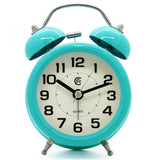 Turquoise Colorful twin bell quartz alarm clock
