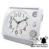 bell and music sound selected analog alarm clock