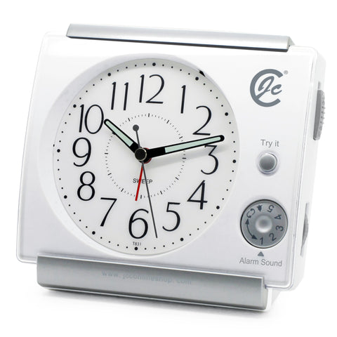 white non ticking music desk alarm clock