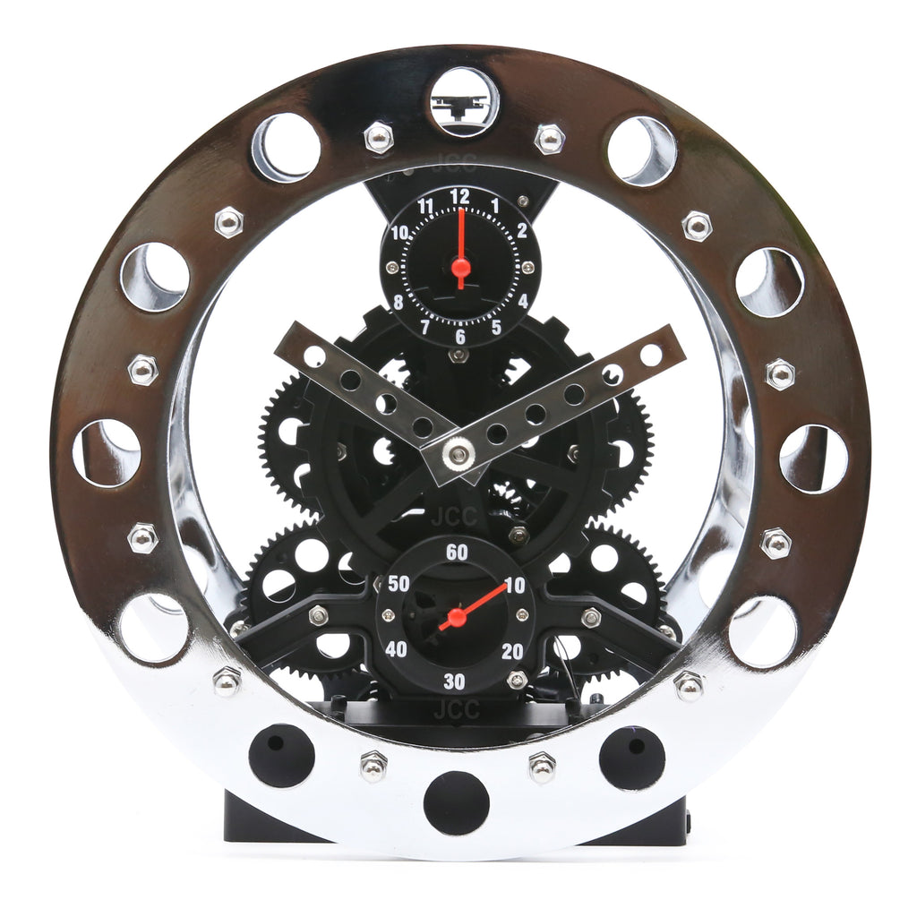 Cool Modern Decoration Moving Gear Wheel Desk Desktop Clock With Moving  Gear Wall Clock.