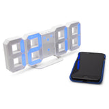 blue large display digital led desk clock