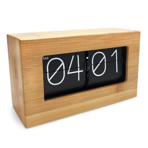 bamboo retro flip desk clock