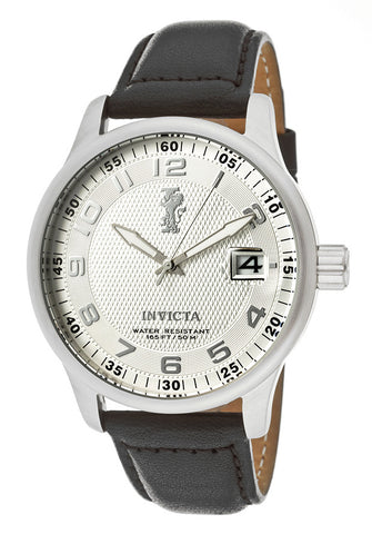 Invicta Men's 12823 I-Force Silver Dial Black Leather Strap Watch