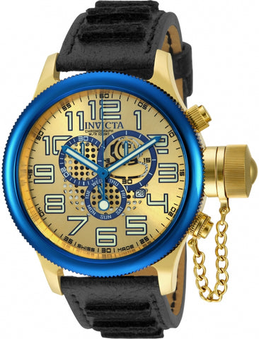 Invicta 14615 Russian Diver Chronograph Gold-Dial Black Leather Men's Watch