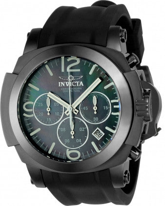 Invicta 22279 Men's I-Force Black MOP Dial Chronograph Black Silicone Strap Dive Watch