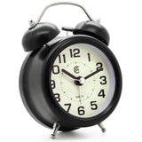 Black small bedside silent quartz alarm clock