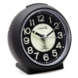 Black luminous travel analog quartz alarm clock