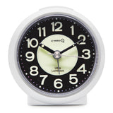 white luminous non ticking quartz alarm clock