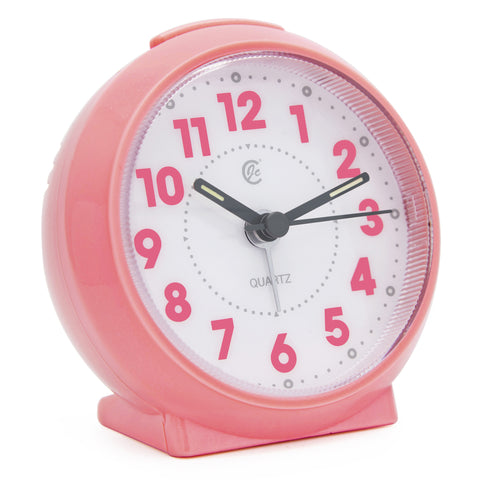 pink cute small analog alarm clock