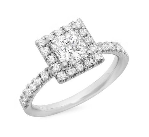 princess cut halo pave diamond engagement ring in 14k white gold