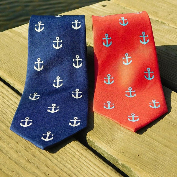 Anchor Necktie - Navy, Printed Silk-Men - Accessories - Ties-SummerTies-The Luxury Upgrade