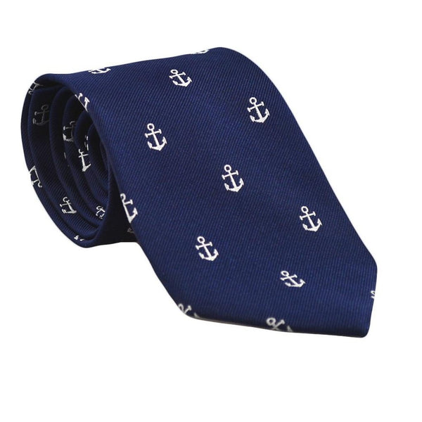 Anchor Necktie - Navy, Woven Silk-Men - Accessories - Ties-SummerTies-The Luxury Upgrade