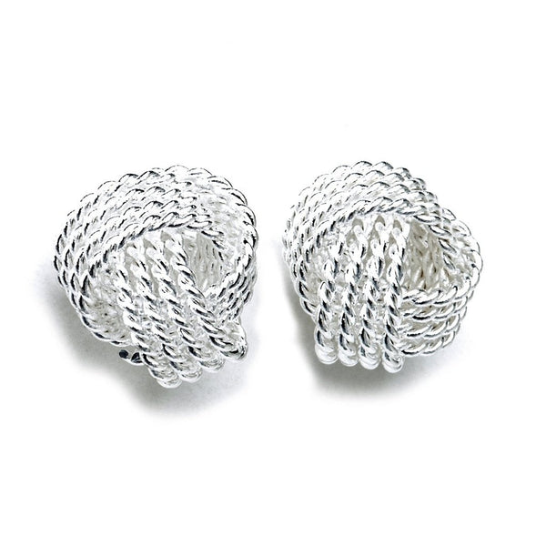 Mirabella Sterling Silver Love Knot Button Earrings-Women - Jewelry - Necklaces-Peace + Love +Bling ~ Ethical is Beautiful-The Luxury Upgrade