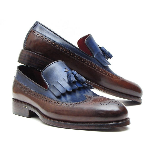 Paul Parkman Kiltie Tassel Loafer Dark Brown & Navy (ID#KT44BN)-Men - Shoes - Loafers & Drivers-Paul Parkman Handmade Shoes-The Luxury Upgrade