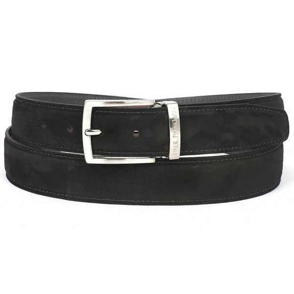 PAUL PARKMAN Men's Black Suede Belt (ID#B06-BLK)-Men - Accessories - Belts-Paul Parkman Handmade Shoes-The Luxury Upgrade