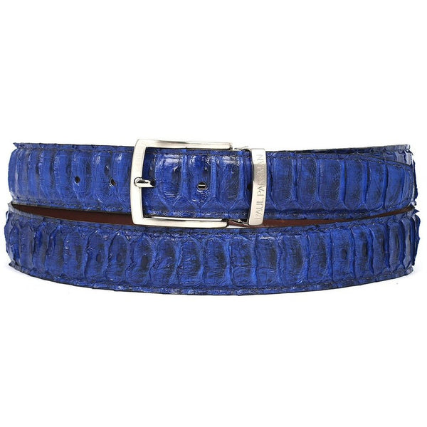 PAUL PARKMAN Men's Blue Genuine Python (snakeskin) Belt (ID#B03-BLU)-Men - Accessories - Belts-Paul Parkman Handmade Shoes-The Luxury Upgrade